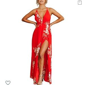 Red Tropical Maxi- Size M - Brand New - Never Worn